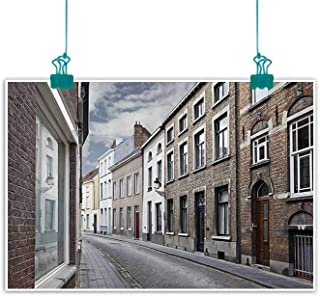 Wanderlust Decor Collection Modern Frameless Painting Cityscape of Bruges Streets Belgium Architecture Cobblestone Town Scene Bedroom Bedside Painting 32