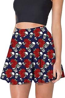 Yying Faldas Calavera Punk Gótico Mujer Una Línea Calavera Plisada 3D Estampado Rosas Fiesta Elegante Mini Falda Plisada Sexy