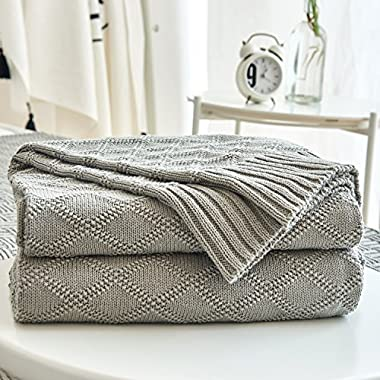 Cable Knit Cotton Gray Throw Blanket for Couch Sofa Beach Chair Bed Home Decorative Soft Warm Cozy Knitted Blankets ,Grey 50 x 60 Inch Gift a Washing Bag
