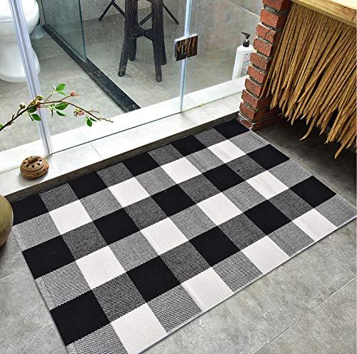 Buffalo Check Plaid Rug Black and White Buffalo Plaid Rug Woven Reversible Doormat (24