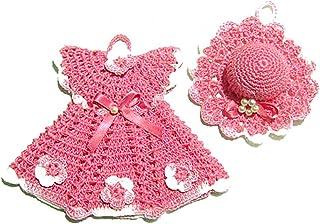 Agarradera vestido rosa con sombrero de ganchillo - Tamaño: 16 cm x 14 cm H - Sombrero: ø 10 cm - Handmade - ITALY