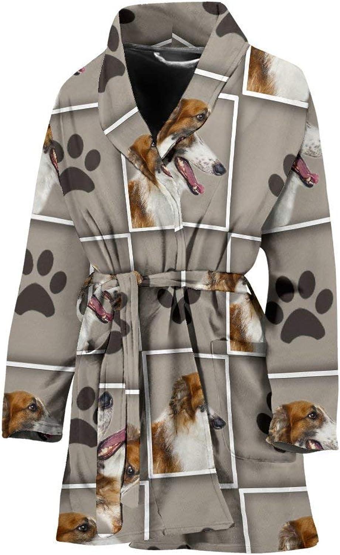 Deruj Borzoi Dog with Paws Print Women's Bath Robe