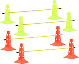 AKA Sports Gear Soccer Agility Sets with 8 Cones & 4 Poles