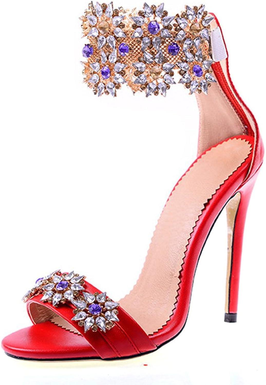 AZMODO Women's Luxurious Rhinestone Flower Crystal Peep Toe Wedding Dress Sandals 1624