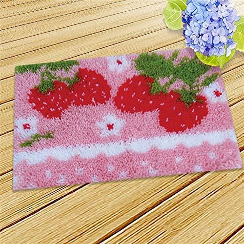 BIGSTAR Einfachheit DIY Handarbeit Sets Häkeln Garn Matte Latch Haken Teppich Kit, Bodenmatte Teppich Set Blumen Kinder Zimmer Teppich Geschenk (Color : A)