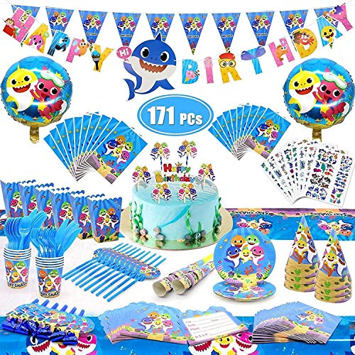 171 PCs Cute Shark Party Supplies Set Birthday Banner Balloons Disposable Tableware Kit Blowing Dragon Paper Hat Gift Bag Cake Toppers Pinata Shark Birthday Decorations Party Supplies
