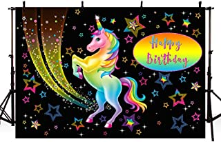 MEHOFOTO Black Unicorn Themed Birthday Photo Studio Booth Background Props Colorful Stars Kid Princess Happy Birthday Party Decorations Banner Backdrops for Photography 7x5ft