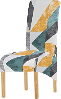 Fundas de silla elásticas de tamaño XL para sillas de comedor, diseño de rayas geométricas, extraíbles, lavables y cortas, para cocina, bar, hotel y boda (Multi1, juego de 4)