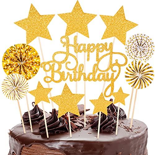 12 Piezas de Decoración para Tarta de cumpleaños dorada, Adornos Tartas Cupcake Topper de purpurina estrellas para niñas, mujeres, niños, fiestas