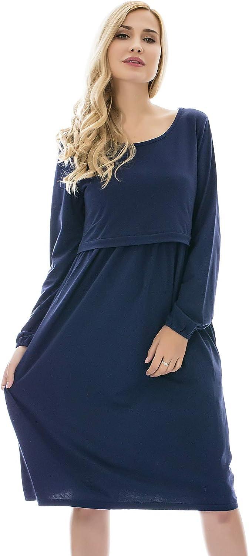 Bearsland Women's Maternity Long Sleeve Soft Nursing Breastfeeding Dresses Pockets