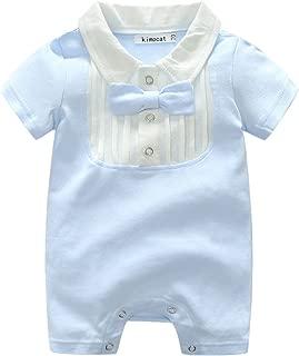 Beide Baby Boys Cotton Gentleman Romper Short Sleeve Jumpsuit with Bowtie