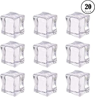 Photography Props,20PCS Acrylic Ice Cubes Transparent Ice Blocks Faux Artificial Clear Ice Cubes Ornaments Crystal Transparent Photography Kitchen Toys Props Decoration Wedding Art Crafts