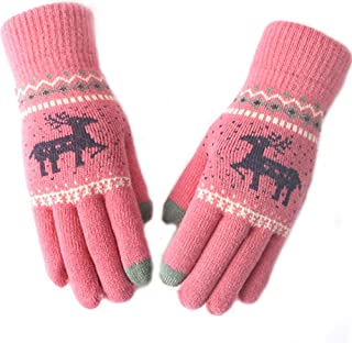Women's Warm Knit Winter Knitting Touchscreen Thickening Outdoor Cycling Milu Deer Gloves Keep Warm