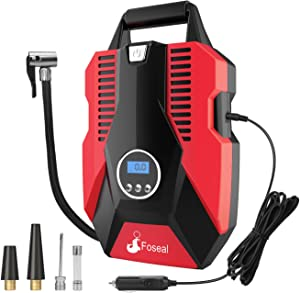 Foseal 12V Portable Air Compressor for Car Bicycle  Motorcycle  Balls  Inflatable Pool and Other Inflatables Digital Display 150PSI Auto Shut Off Accurate Pressure Control  Red