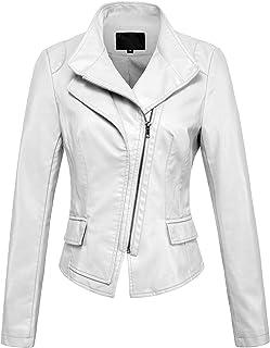 chouyatou Women's Stylish Oblique Zip Slim Faux Leather Biker Outerwear Jacket