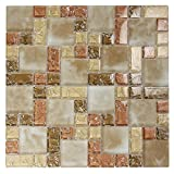French Pattern Beige Glass Tile With Cracked and Recycled Glass -...