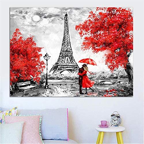 mlpnko DIY Malen nach Zahlen Eiffelturm Acrylmalerei Kit für Kinder & Erwachsene Anfänger30x40cm kein Rahmen