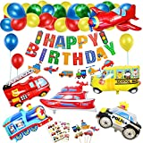 Decorazioni di Compleanno Party, Gigante XXL Palloncino Compleanno Ragazzo Veicoli Trasporto Tema AereoTreno Auto della Polizia Scuolabus Yacht Camion dei Pompieri Cake Toppers per Compleanno