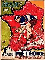 ERZANアメリカン 雑貨 アンティーク インテリア プレート ブリキ メタル 看板30x40cm1925ツールドフランス自転車レースパリフランスヴィンテージトラベルブリキ看板