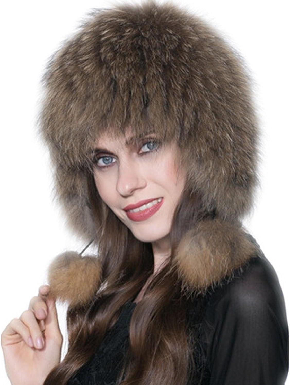 Qmfur Genuine Fox Fur Knitted Women Winter Cap Princess Hat