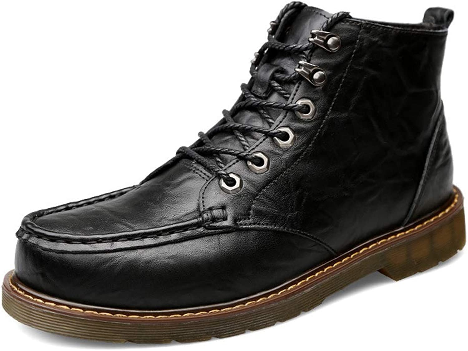 Men's Leather Boots Waterproof Men Boots Fall Winter New Leather shoes Outdoor Casual Hiking shoes,A,41