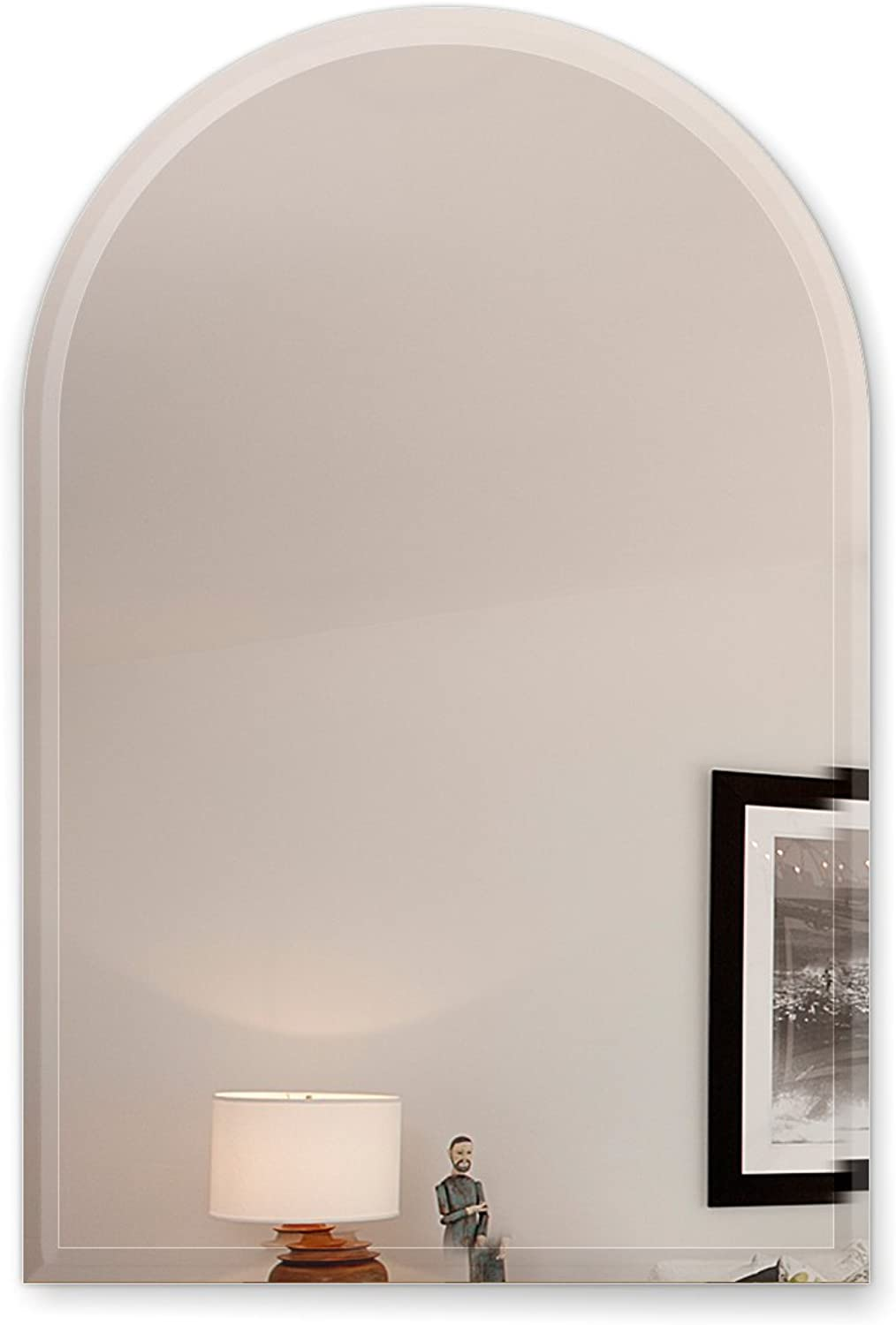 Fab Glass and Mirror 18X30 Inch Arch Frameless Mirror 1  Beveled Edge with Hooks