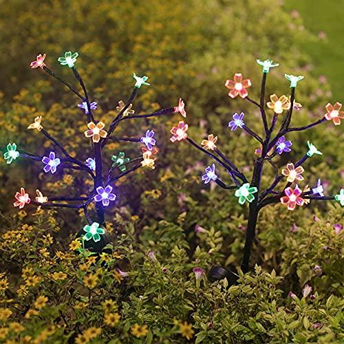 2 piezas de luz solar de cerezo al aire libre de 11.8 x 25.6 pulgadas, 20 ramas LED ajustables, luces de flor de cerezo impermeables para decoración de jardín, patio, césped, camino, blanco cálido