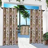 Aishare Store - Cortina para patio al aire libre, diseño de flores persas, 95 pulgadas de largo, resistente panel de interior para porche, balcón pérgola, toldo para carpa (1 panel)