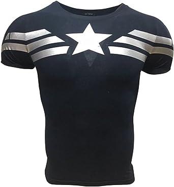 AM Sport Camiseta Fitness Compresion Hombre con Dibujos de Superheroes para Entrenar y Hacer Deporte. Licras (Capitan America Básica)