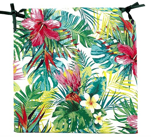 TIENDA EURASIA® Pack de 4 Cojines para Sillas - Estampado Flores Tropical - 2 Cintas de Sujeción - Ideal para Interiores y Exteriores - 40 x 40 x 3 cm (Color)