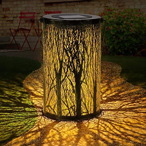 Tencoz Solarlaterne Für Außen, Garten Solarleuchten für Dekorative Atmosphäre LED Garten Hängende mit Laterne Wasserdicht IP44 für Rasen/Hof/Gehweg/Weihnachten. (Black)