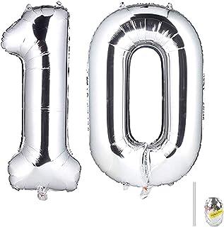 Huture 2 Globos Número 10 Figuras Globo Inflable de Helio Globo de Mylar de Papel Grande Globos Gigantes de Plata Número de Globo de 40 Pulgadas Para Fiesta de Cumpleaños Decoración Prom XXL 100cm