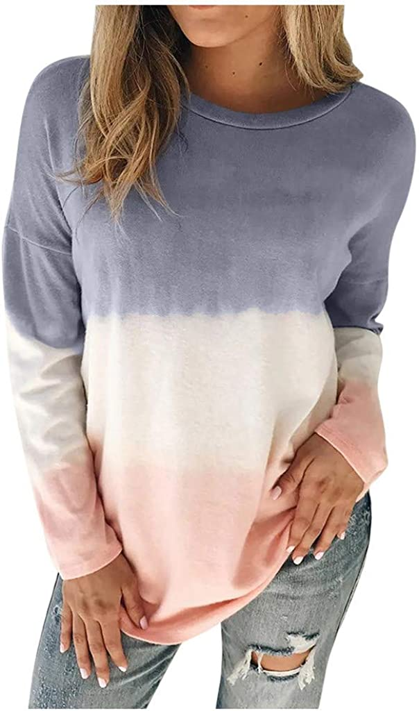 UOCUFY Long Sleeve Tops for Women, Womens Tunics Shirts Tops Long Sleeve Casual Loose Crewneck Soft Pullover Tops