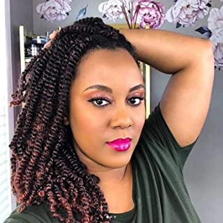 4 Pack OT-350 Ombre Spring Twist Crochet Hair Braids 100% Kanekalon Synthetic Braiding Hair Extensions Low Temperature Fiber (8 Inch - 4Pack, T1B-350)