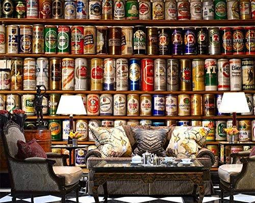 Mssdebz 3D Tapete Weinregal Dosen Bier Tapete Wandbild Für Restaurant Bar Cafe Hintergrundbild Bier Wandbild Tapete-250cmx175cm