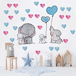 Outgeek Baby Elephant Wall Decals: Cute Elephant Wall Stickers with Love Heart Bunny Balloon Kids Room Wall Stickers for Kitchen Bedroom ClassroomPlayroom Nursery Decoration