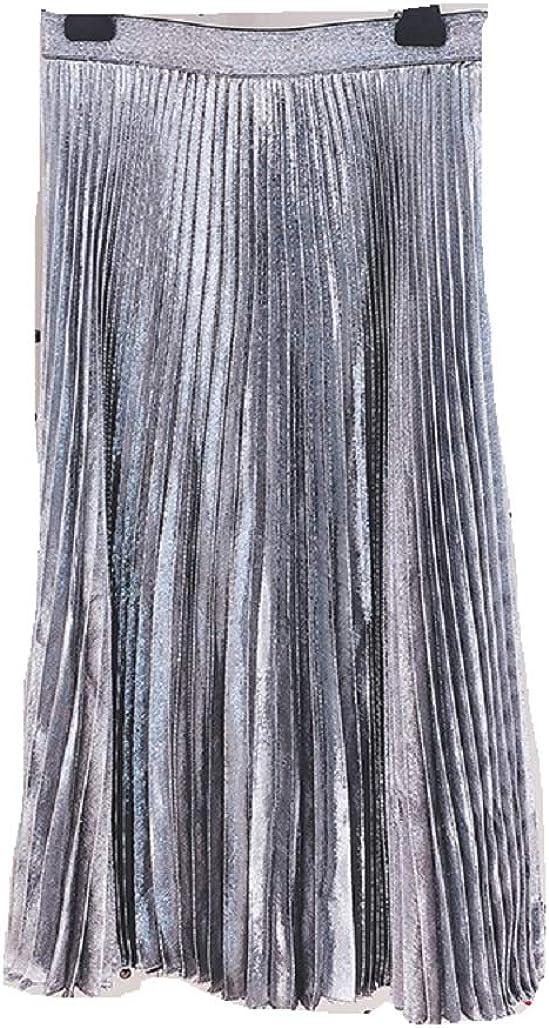 Women's Pleated Dynamic Gradient Wire Crimp Pendulum Long Midi Skirt
