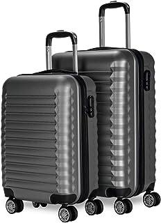 Newteck Lot de 2 valises de voyage, taille moyenne 63 cm, petite 53 cm Ensemble de valises de voyage rigides, en ABS, rési...