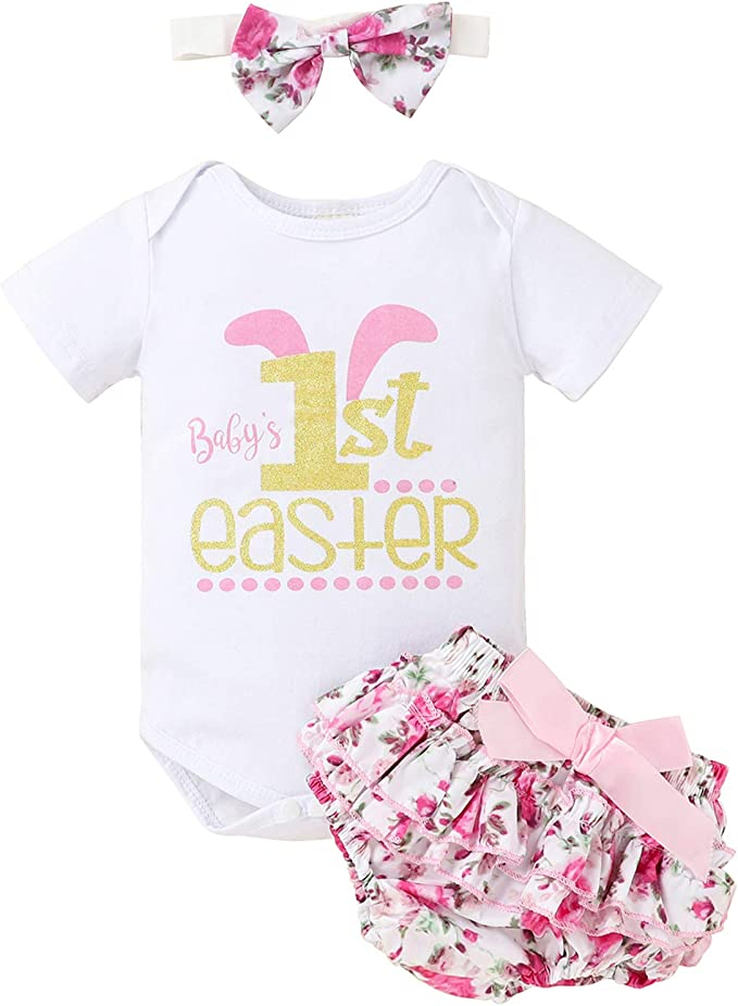 0-24M Infant Baby Girls Letters Romper Floral Ruffle Shorts Headband Clothes Outfit Set