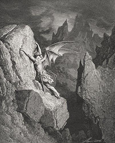 Ilustração de Gustave Dore 1832-1883 Artista e ilustrador francês para o paraíso perdido por John Milton Book II Lines 949 Poster Print44; Grande - 66 x 81 cm