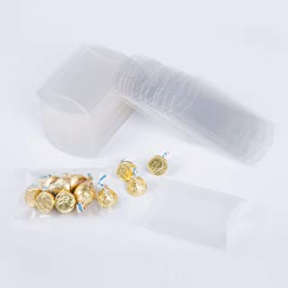MOWO Clear Plastic Pillow Box 4x0.9x2.8 inch Gift Candy Treat Transparent Packing Box Party Favors 50pc