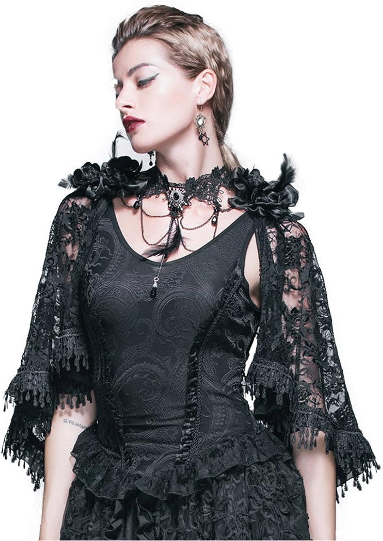 Devil Fashion Gothic Jacquard Knitting Vest Tank Tops Victorian Punk Women Lace Cappa Shawl Tops Black