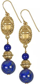 New Arrival - Egyptian Scarab Earrings with Lapis, From Our Museum Reproductions Store