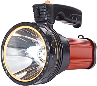 Eornmor Outdoor Handheld Portable Flashlight 6000 Lumens USB Rechargeable Super Bright LED spotlight Torch Searchlight Multi-function Long Shots Lamp, 9000ma 35W (Red)