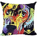 BK Creativity Cute Pet Weimaraner Fundas de Almohada Animales Coloridos Sofá Cama Funda de cojín Decorativo Fundas de Almohada de Lona Personalizadas Buen Regalo para los Amantes de los Perros
