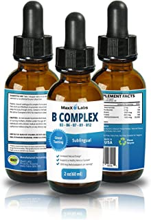 New B Complex Liquid B12 Sublingual Vitamin - Best for Healthy Hair Skin Nails, Increased Energy, Water Soluble Sublingual...