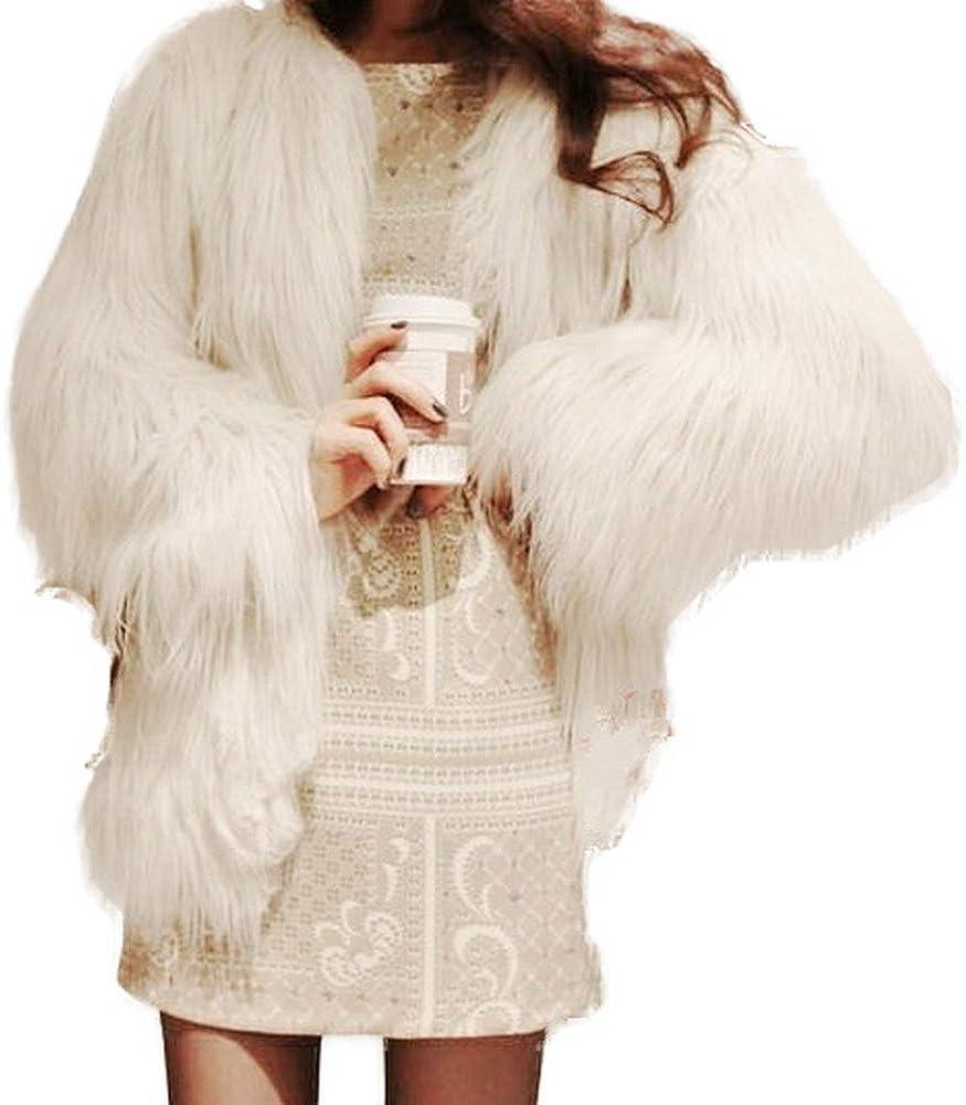 GESELLIE Women's Warm Soft Hairy Faux Fur Cardigan Outwear Jacket Coat White