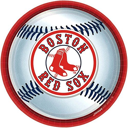 """Amscan Boston Red Sox Round Dinner Plates, 9"""""""