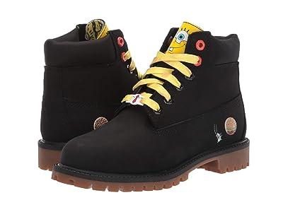 Timberland Kids 6 Premium Boot with Lined Tongue Spongebob (Little Kid) (Black Nubuck) Kid