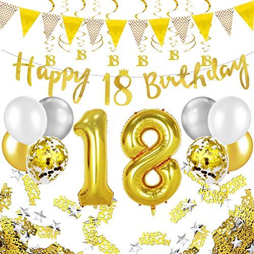 Humairc 18 ans anniversaire blanc or décorations, 18e HAPPY BIRTHDAY bannière Triangle drapeau 6pcs Chiffre suspendu tourbillon, Ballon Chiffre 18, 8pcs Ballons Confetti - Homme femme